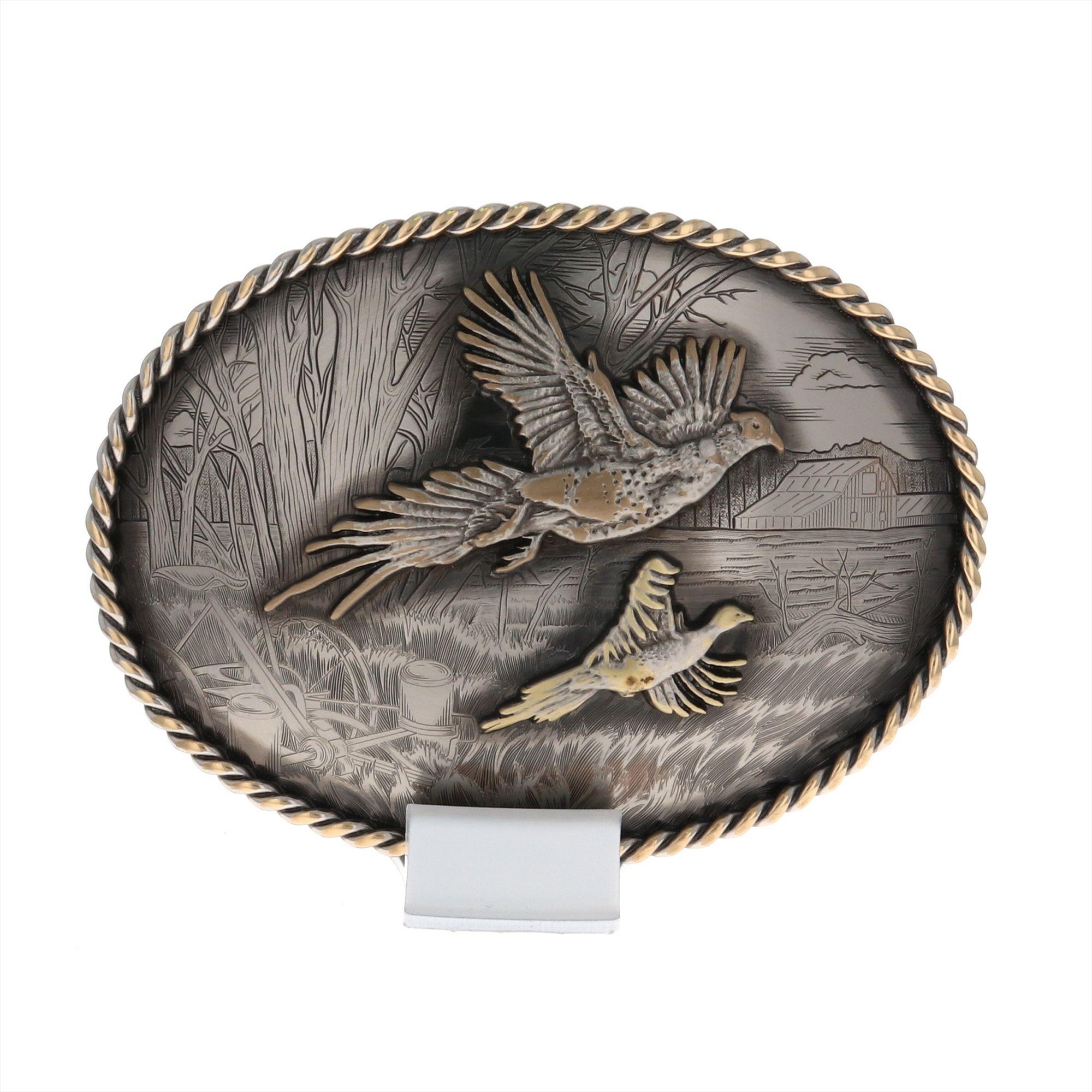 Vintage Bronze Rustic Buckle with Pheasants