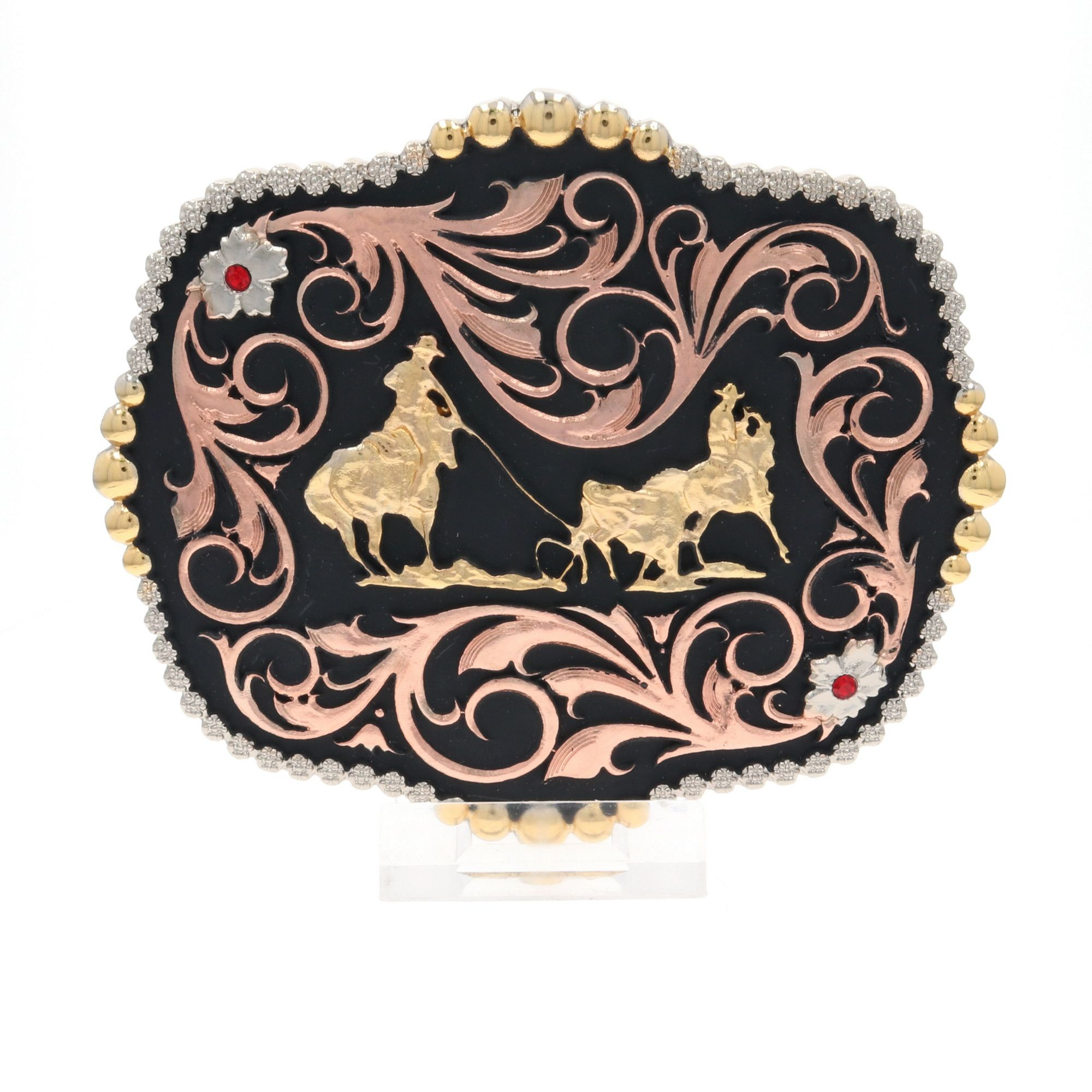 Tri-Color Team Ropers Traditional Attitude Buckle