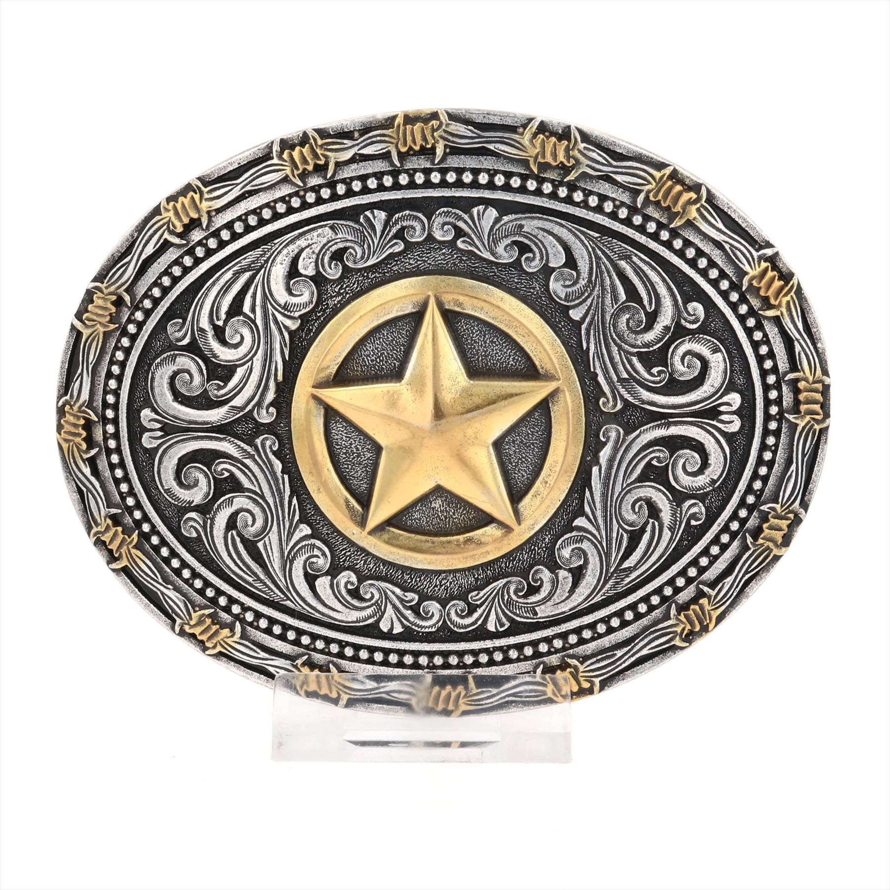 Two tone Rope & Barbed Wire Classic Impressions Lone Star Attitude Buckle