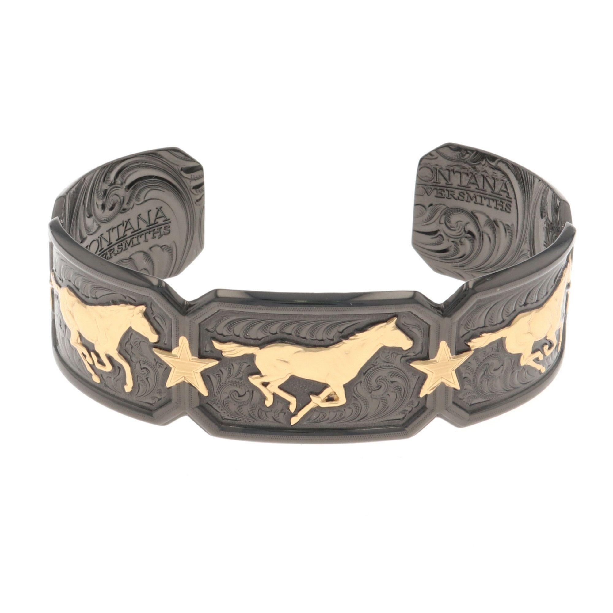 Montana Gold Running Horse Cuff Bracelet