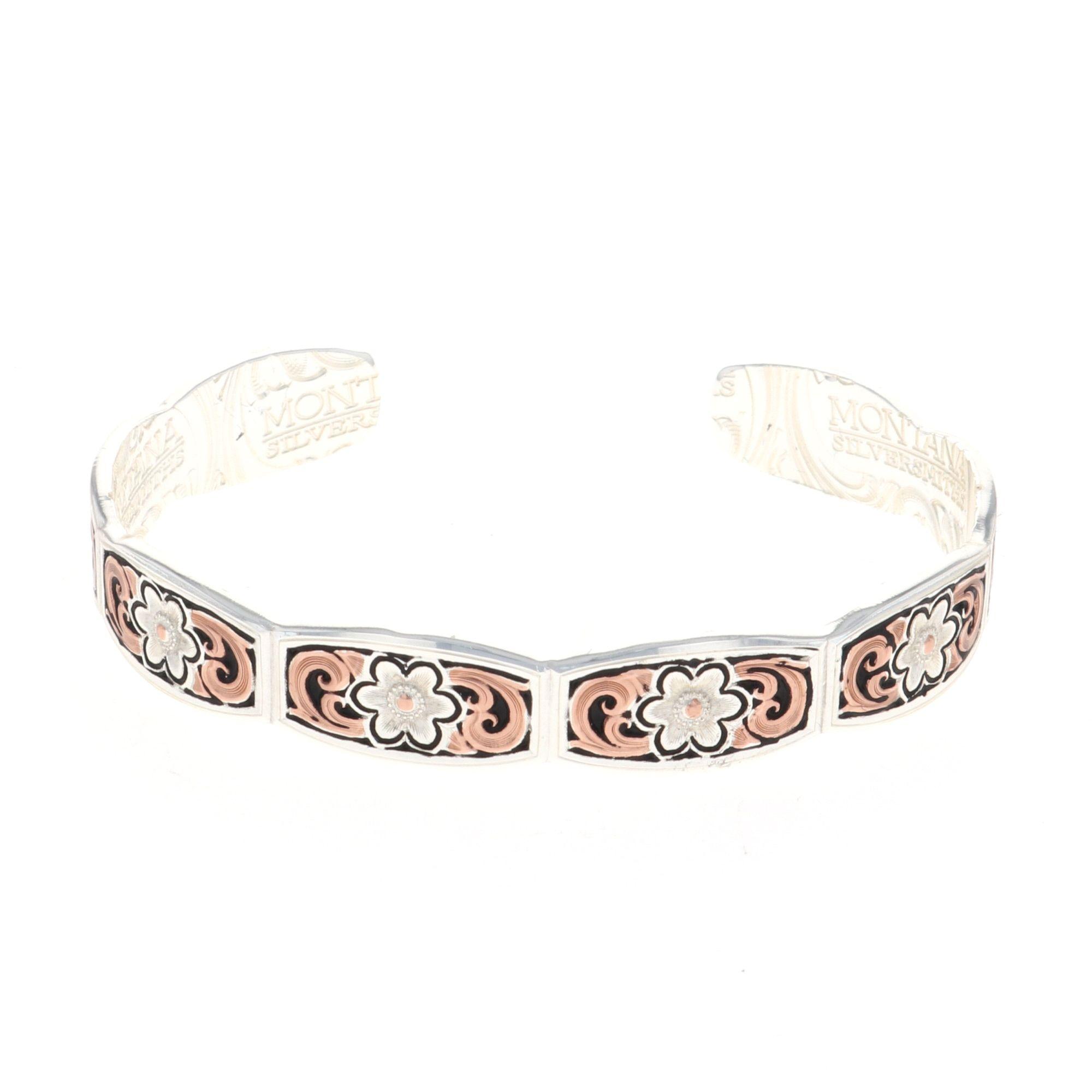Classic Rose Gold Flower Swirl Cuff Bracelet