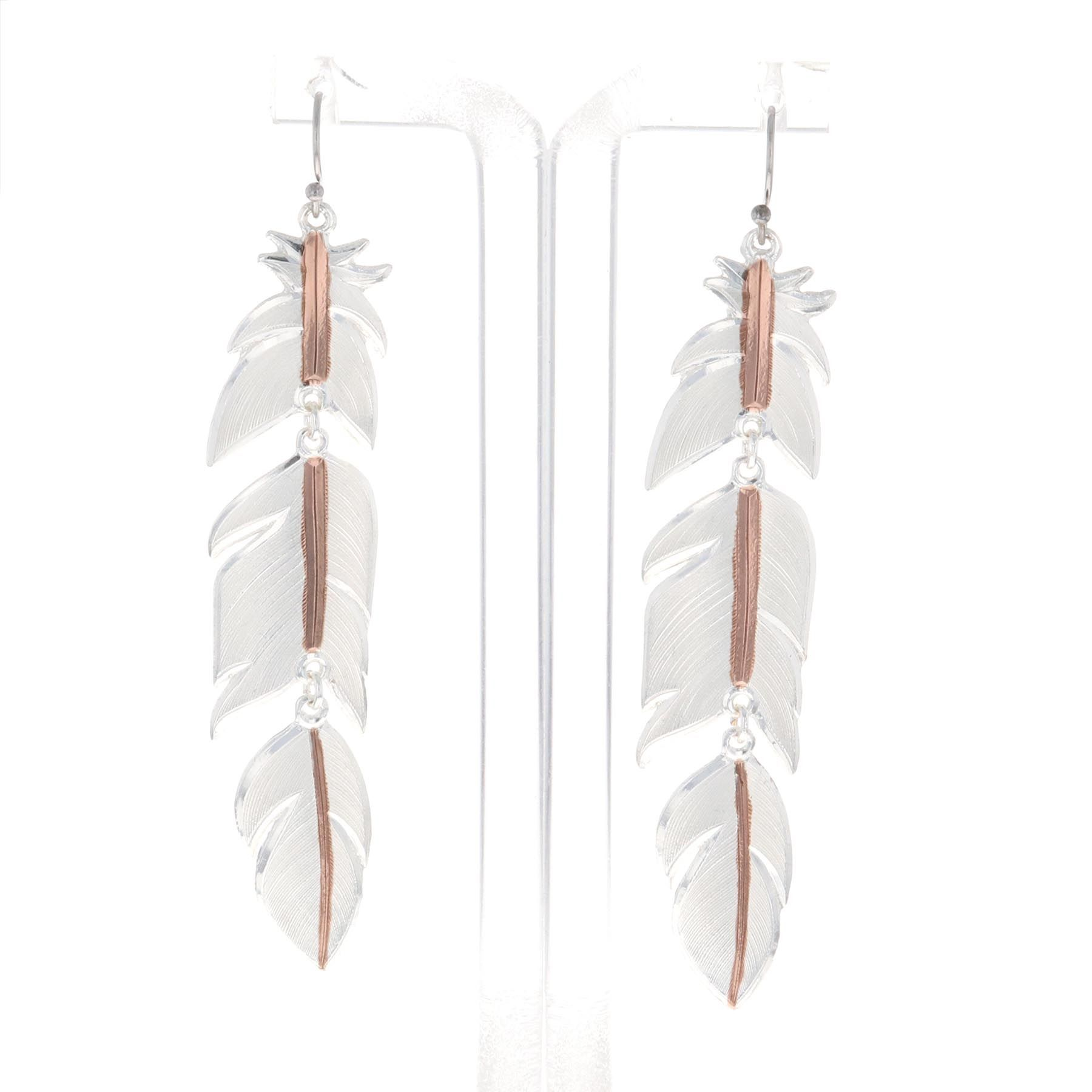 Rose Gold Plume Feather Earrings