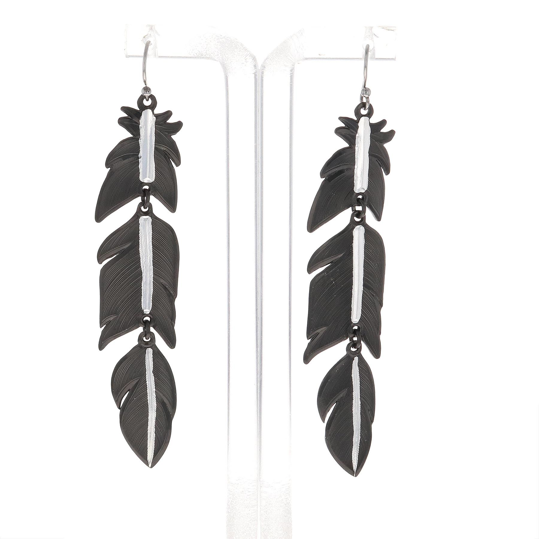 Moonlit Melody Black Feather Earrings