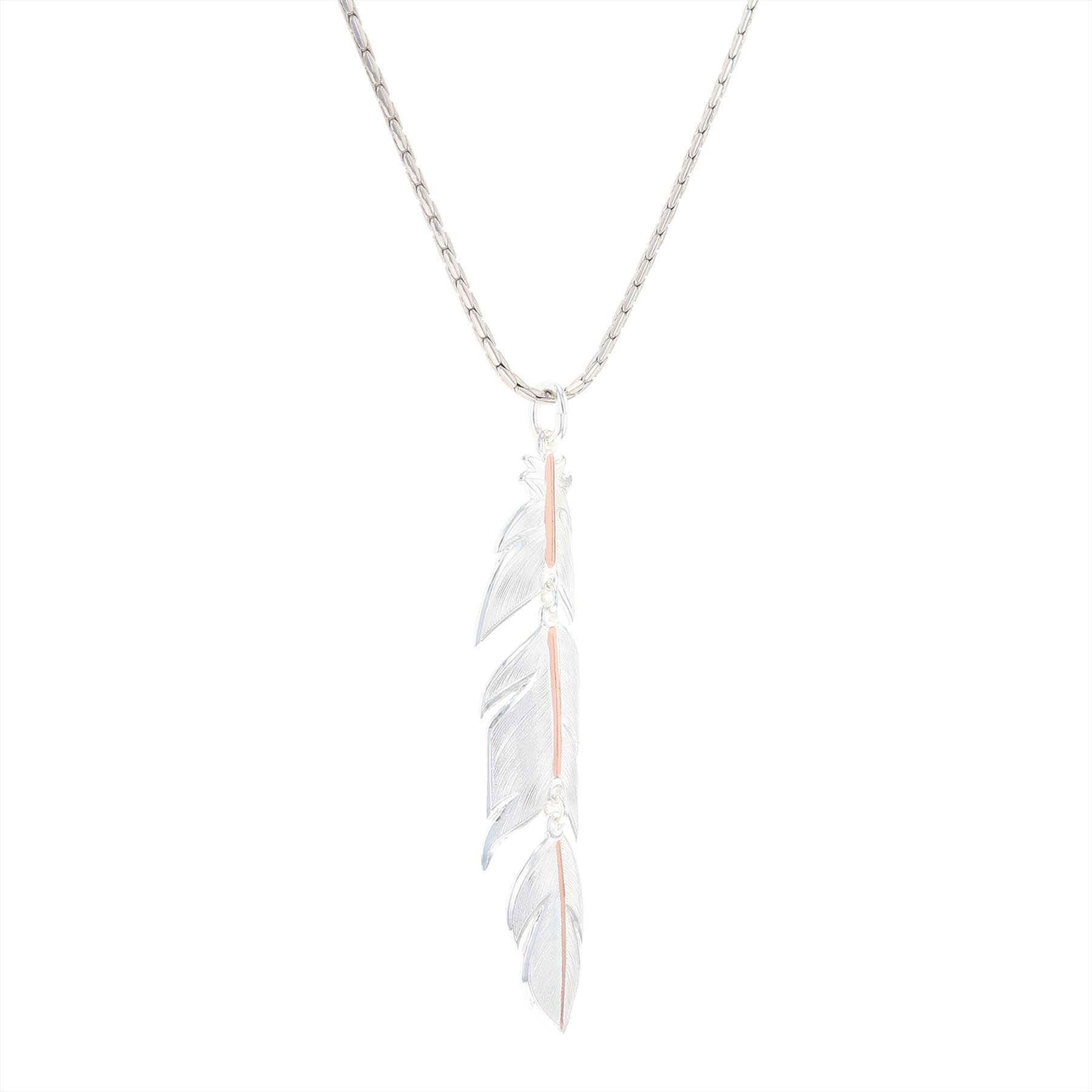 Rose Gold Plume Feather Necklace