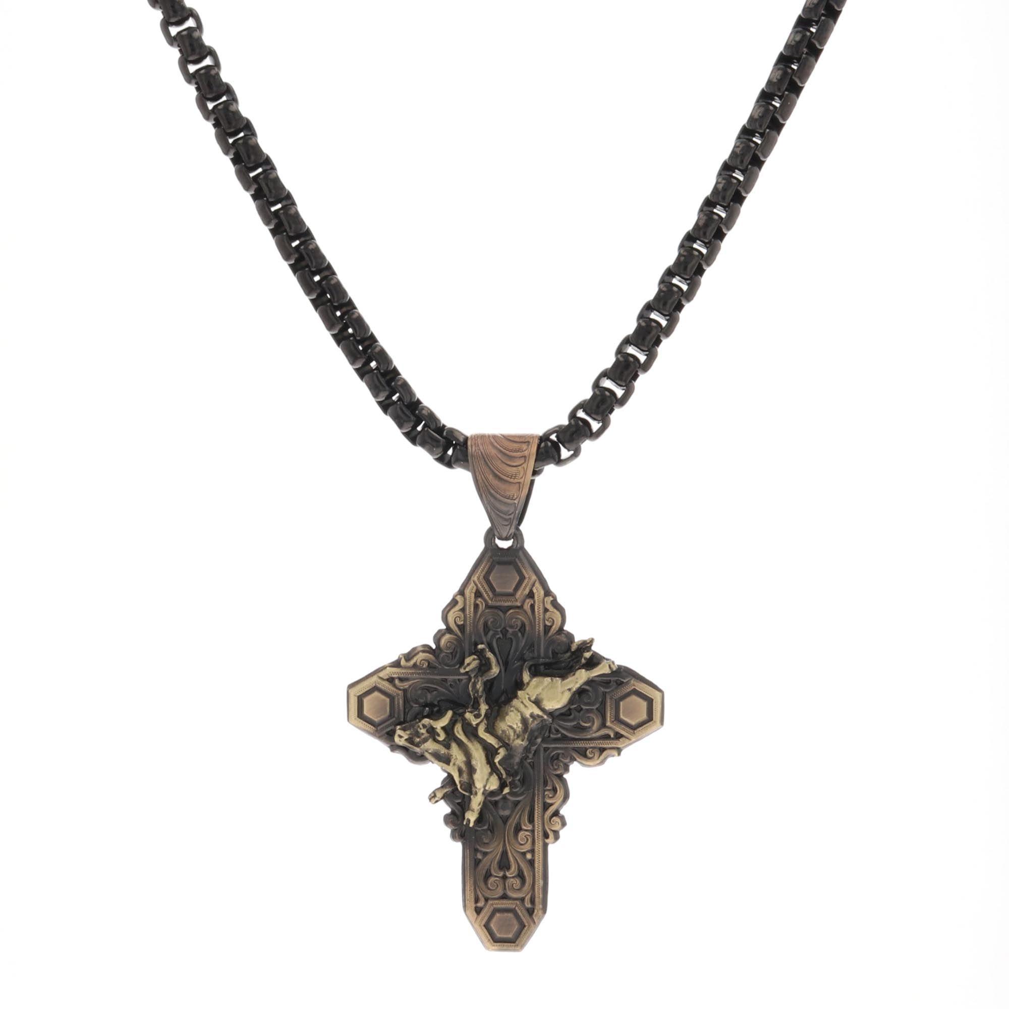 Vintage Bronze Filigree Cross Necklace