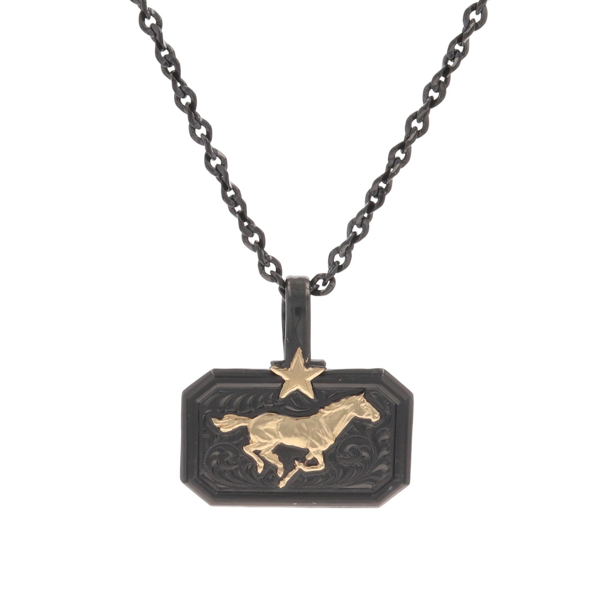Montana Gold Running Horse Necklace