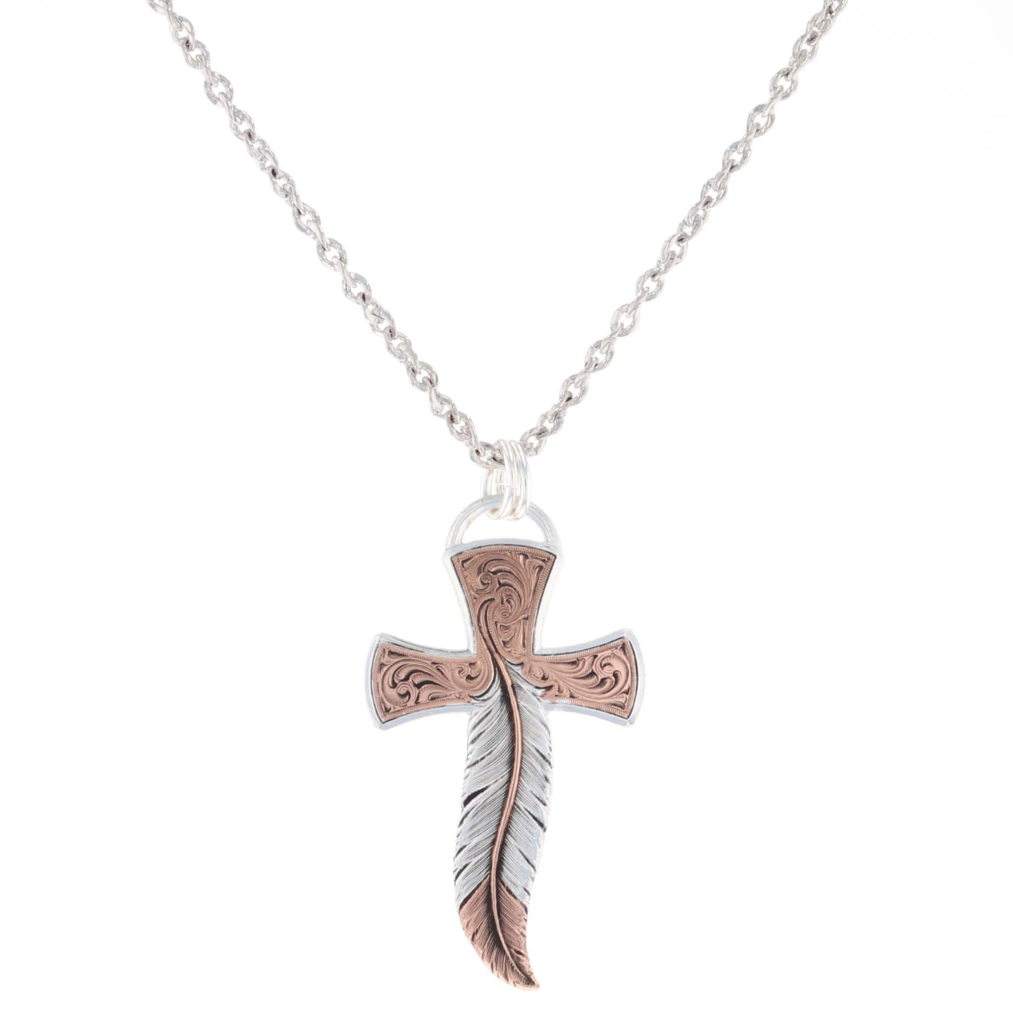 Wind Dancer Feather Cross Necklace